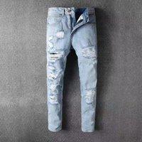 Wholesale Destroy Harem - 2017 Men's Ripped Biker Jeans Embroidery Jeans Blue Black Famous Brand Designer Mens harem pants Destroyed Denim Hip Hop Pants For Men