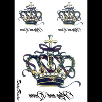 Wholesale Tattoo Stickers For Body Letters - Wholesale-3D Large Fake Flash Waterproof Temporary Tattoos Arm Small King Crown Letters Tattoos Body Art Stickers Large for Men