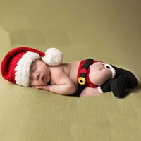 Wholesale Knitted Ropes - Newborn Baby Christmas Santa Knitted Crochet Photo Photography Prop Lovely Hats Costume Outfits For 0-6 Months 2017 BP024