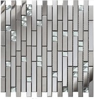 Wholesale Glass Tile Backsplash Kitchen - Linear Glass Diamond Stainless Steel 3D Mosaic Wall Tile,Modern Metal Pattern Kitchen Backsplash Tiles,SA047-18.