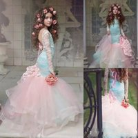 Wholesale Flower Tires - Gorgeous Blue And Pink Mermaid Flower Girls Dresses 2018 Lace Long Sleeves Tired Tulle Pageant Gowns for Little Girl Children Party Dresses