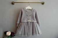 Wholesale full tulle dress for sale - Kids Girls Knit Sweater Dresses Baby girl tulle lace TUTU Autumn Winter Princess Dress Gray Color