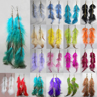 Wholesale Long Red Feather Earrings - Feather Earrings 18 Colors wholesale lots Cute Charm Long Chain Light Dangle Eardrop Hot (Red Purple Army Green Brown Burgundy Black)(JF011)