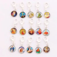 Wholesale Trigger Wholesale - 150pcs lot Catholic Religious Church Medals Saints Cross Clasp European Lobster Trigger Clip On Charm Beads C1707 26.7x10mm