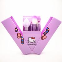 инструменты кисть hello kitty оптовых-NEW Hello Kitty макияж кисти Set + Зеркало Case тени для век румяна Кисть Kit Макияж туалетных красоты Бытовая техника 8шт набор малышей Косметические средства