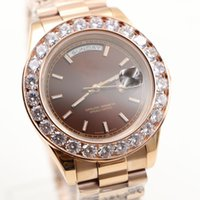 Wholesale Rose Ring Watch - Fashion watches men luxury brand Day Date Rose Gold Stainless coffe face Big diamond ring automatic AAA sapphire Mechanical Wrist Watches