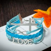 Wholesale Men Bracelet Korea - Juegos del hambre vintage LOVE cross bracelet KOREA wax leather bracelet men charm bracelets pulseira couro braid gift for friend