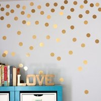 Wholesale Polka Sticker - 4038 Gold Polka Dots Wall Sticker Baby Nursery Stickers Children Removable Wall Decals Home Decoration Art Vinyl Wall Art