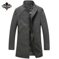 Wholesale Mens Overcoat Spring - Wholesale- Men's Wool Jackets Spring Autumn Brand Men Woolen Coats Middle Long Jackets And Coats Mens Warm Wool Overcoat Size 3XL 2XL