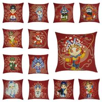Wholesale chinese black sofa resale online - Hot New Cushion Cover Chinese Red Classical Peking Opera Face Painting Pattern Cotton And Linen Pillow Cover Living Room Sofa Pillowcase