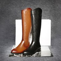 Wholesale Pointy Shoes - Knee High Boots For Women Euro Style Black Brown Embossed Cowhide Pointy Toe Medium Heels Ladies Shoes Frauen Stiefel