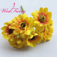 WedFavor 60pcs Chrysanthemium artificial de seda Gerbera Daisy Flower Bouquet para Candy Box Garland Scrapbooking Wedding Decoration