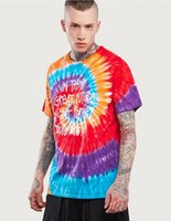 Wholesale Men S Tie Styles - Mens T-shirt 2017summer Fashion new street European and American style Spiral tie English graffiti T-shirt
