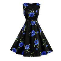 ceinture pour femme achat en gros de-Robes D'été Femmes Floral Print Années 50-60 Rétro Vintage Robes Avec Ceinture Sans Manches Tank Party Élégant Dames Robe Vestidos