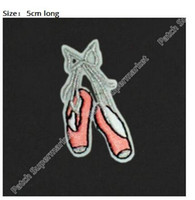 Wholesale Girls Ballet Shirts - Pink Ballet Shoes silver bow Dance Iron On Patches For Clothing Embroidered Badge Applique For girls' dress t shirt headband