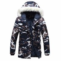 Wholesale wadded white jacket men - Wholesale- LR Winter parka men Thicken Lovers wadded jacket Camouflage large fur collar cotton-padded jacket outerwear Free shipping M- 3XL