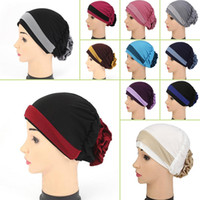 Wholesale Table Covers Flowers - Muslim Stretch Turban Hat Cancer Chemo Cap Hair Loss Head Scarf Wrap Cover Women Stretch Flower Muslim headscarf CWY0027