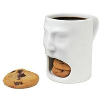 Wholesale Biscuit Pocket - 48pcs lot 175ml Face Mug Ceramic Coffee Cup Side Cookie Biscuit Pocket Holder Milk Juice Lemon Mug Drinkware For Friend Birthday Gift