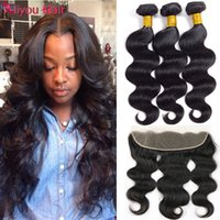 Wholesale Brazilian Remy Hair Closures - Brazilian Unprocessed Virgin Hair Body Wave Human Hair Weft With Frontal Remy Straight 13X4 Ear to Ear Lace Closure With 3 Hair Bundles