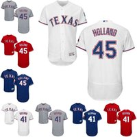 Wholesale New Holland Stopping - New Arrival!! Mens Texas Rangers 41 Jake Diekman 45 Derek Holland Majestic Jerseys White Grey Red Drop Shipping Size S-4XL