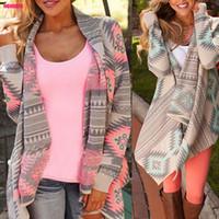 Wholesale Long Sleeve Cardigans Wholesale - Wholesale-Women Basic Coats 2016 New Irregular Long-sleeved Cardigan Sexy Sweater Women Print Winter Pink Autumn Jacket Women Phocho1