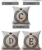 Wholesale linen letter cushions resale online - Christmas Party A Z English Letter Initials Pillow Case Cushion Cover Linen Cotton Throw Pillowcases Sofa Car Pillowcover