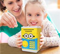 Wholesale Coin Bank Atm - Cartoon Safety Box Pikachu Minions Piggy Bank Mini Money Saving Box Password Locks Coins Cash ATM Deposit Machine Christmas Gift For Kids