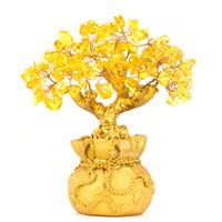 chance d'arbre achat en gros de-Feng Shui Naturel Citrine Gem Jaune Cristal Argent Arbre Bureau Home Table Office pour la chance fortune, Meilleur cadeau
