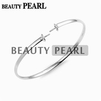 Wholesale Bracelets Blanks - 5 Pieces Bracelet Blank Pearl Mount Polished 925 Sterling Silver Simple Bangle for DIY Jewelry Findings