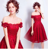 2017 Günstige New Style Prinzessin Lace Applique Formal Abendkleid A-Linie Bateau Backless Rock Knie-Länge Party Kleid Luxus Casual Dress