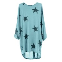 Wholesale Fine Knitting - Wholesale- Women Summer Beach Casual Loose T shirt Batwing Stars Print Fine Knitted Baggy Tunic Female t shirt Plus Size