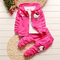 Wholesale Gilrs Coats - Kids Gilrs Clothing Set 0-3 Years Old Kids Autumn Winter 3 Piece Sets Hooded Coat Cotton Baby Gilrs Clothes Children Clothing Set LA356