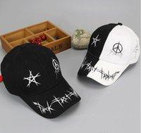 Wholesale Pentagram Design - Epacket free shipping New Spring Autumn Men Women Adjustable Baseball Cap Cool design Pentagram graffiti Snapback Hip-Hop Hats Sun Hat