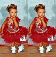 Wholesale Sugar Pageant Gowns - Modern Crystal Short Red Glitz Little Girl's Pageant Dresses for teens with Straps Sugars Toddler Kids Ritzee Girl Cupcake Gowns 2016