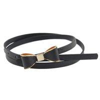 Wholesale Cute Skinny Belts - Wholesale- Hot sale!!!2016 new arrival designer High quality Luxury Women's Sweet Cute Girl Bowknot PU Thin Belt Skinny Dress Waistband