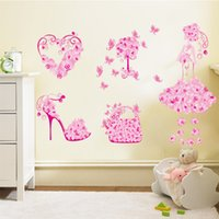 Wholesale Self Adhesive Bags Large - Colorful Flower Girl Bag Shoes Butterflies Wall Stickers Fior Kids Rooms Heart Wall Decals Girl's Bedroom Decor Mural Poster
