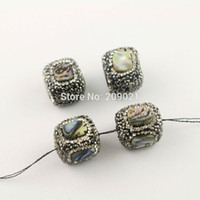 Barato Conchas De Abalone Soltas-DIY 8Pcs Paua Abalone Shell Paved Rhinestone Spacer Loose Bead, Square - Shape Connector Beads For Jewelry Making