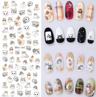 Wholesale Sticker Caterpillar - DS373-384 Water Transfer Nails Art Sticker 2017 New Harajuku Element Cats Kitty Caterpillar Nail Wrap Sticker Manicura sticker