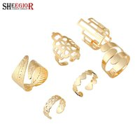 Wholesale Geometry Rings - 6pcs set Fashion Punk Metal Gold Plated heart rings set Knuckle Hollow Out leaf Geometry party cuff ring women finger jewelry