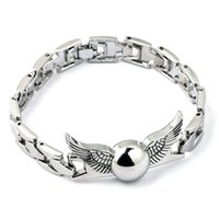 Wholesale Snitch Charms - Harry the Deathly Hallow Golden Snitch Bracelet Alloy Bangle Cuff Wrist bands Potter Fashion for Women Men Christmas Gift Drop Shipping