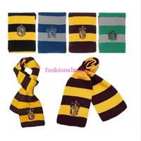 Wholesale Hot Pink Knit Scarf - Good quality hot New Fashion 4 Colors College Scarf Harry Potter Gryffindor Series Scarf With Badge Cosplay Knit Scarves Halloween Costumes