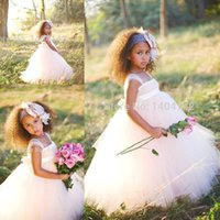 Wholesale Easter Shirt For Child - Tulle with Bow Flower Girl Dresses Party Gowns For Little Child Communion Dresses Girls Pageant Dresses Cheap Sale