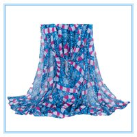 Wholesale Wholesale Capes For Women - Wholesale- 2016 New Design For Christmas 5 Fashion Colors Women Scarves Shawls Printing Voile Femme Foulard Echarpe Cape Size :71*35inch