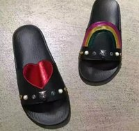Wholesale Rainbows Flip Flops - fashionville~ u737 black genuine leather tiger stud rainbow slide sandals beach summer shoes casual