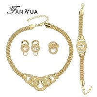 Wholesale Mixed Geometric Necklace - Luxuriant Jewelry Sets Gold Plated Geometric Circle with White Rhinestone Contained Necklace Earring Bracelet And Ring