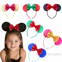 Wholesale Wholesale Sequin Headbands - New Baby Girls Big Sequin Bow Hairbands Princess Mickey Mouse ears Headbands Children Hair Accessories Kids Party Wear Hair Sticks KFG08