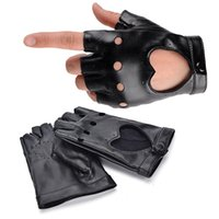 ingrosso guanti neri hip hop-All'ingrosso-Donne PU Leather Heart Guanti semi-finger Hip-hop Black Ritaglio Guanti senza dita sexy Ragazze Performance Dancing Gloves 1Pair