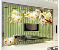 chinesische kulissen großhandel-Wohnkultur Wohnzimmer Natürliche Kunst Duft Scarlet Magnolia Chinese TV Hintergrund