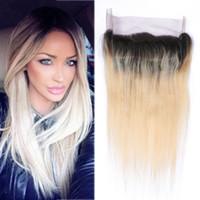 ingrosso migliori pezzi di chiusura-Best Quality 360 Frontal Band Band 13 * 4 * 2 Inch Peruvian Hair Piece 100% Non trasformati Human Hair Straight 1B 613 Two Tone Ombre Color