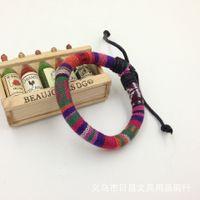 Wholesale Thai Bangle Bracelets - Europe and America wax rope braide Thai style bracelet punk fashion jewelry unisex Genuine leather charm cowhide bangle wholesale